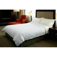 Bed Cover Set Putih/Warna (Cotton Jepang )180 cm x 200 cm x 30 cm