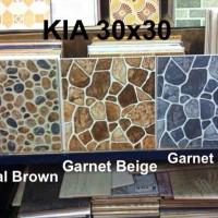 Keramik Kamar Mandi KIA Garnet Blue 30 x 30 motif batu