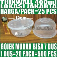 Mangkok Plastik 400 ml Tempat Kotak Makan Nasi Thinwall n Tutup Murah