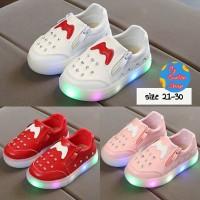 sepatu anak perempuan Led import Mickey Mouse sepatu anak cewek lampu