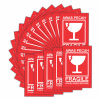 Paket 1000 Pcs | Sticker Fragile Waterproof Ukuran 5 x 7 cm