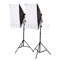 Paket lampu foto studio softbox socket e27