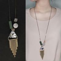 Harga jual kalung etnik liontin kristal rantai panjang long neckla | Pembandingharga.com