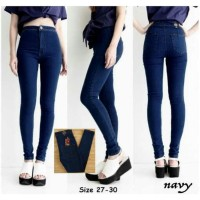 Celana Jeans hitam highwaist wanita SUPER STRECH HIGH QUALITY