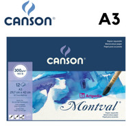 CANSON Montval Watercolour Pad A3 300gsm isi 12 Lembar / Montval A3