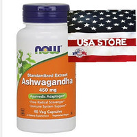 NOW FOODS ASHWAGANDHA Extract 450 mg 90 Veg Capsules Food standardized