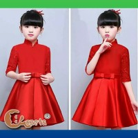 baju anak perempuan 3-5thn natal imlek dress gaun rok maxi merah