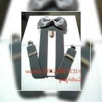 paket suspender/ bretel/ tali jojon 2,5 cm + dasi kupu dewasa
