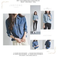 34871 Denim Comfort Shirt / Kemeja Denim Biru Tua Muda
