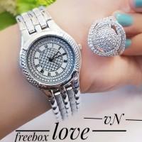 jam tangan wanita plus cincin lapis emas 24k 3080