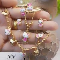 xuping set perhiasan anak kalung gelang cincin lapis emas 24k 3076