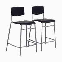 IKEA STIG Kursi bar 74 cm dengan sandaran, Hitam