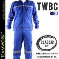 TWBC TeamWork Setelan Baju Celana Seragam Kerja Pabrik Proyek Biru