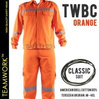 TWBC TeamWork Setelan Baju Celana Seragam Kerja Proyek Katun Orange