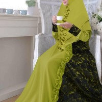 Setelan Gamis Syari Brokat Ceruty Asyifa Hitam Cantik Elegan