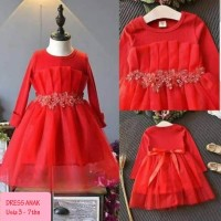 DKP39 Dress Party Import Anak Perempuan Usia 3-7y Baju Pesta Gaun