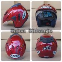 Helm INK CX Model T1 Double Visor grade ori - Merah Maron