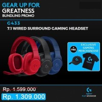 Logitech G433 7.1 Surround Gaming Headset Free G-Cap G-Tshirt