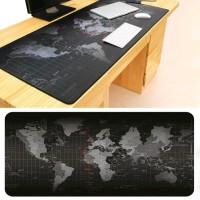 Gaming Mouse Pad Desk Mat Motif Peta Dunia 300 X 250 Mm - Black