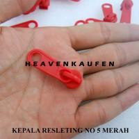 Kepala Resleting / Kepala Zipper Merah No 5 Murah Eceran Grosir