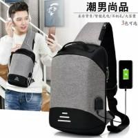 Tas Selempang pria IMPORT NEW VER Anti Maling anti air USB + Earphone