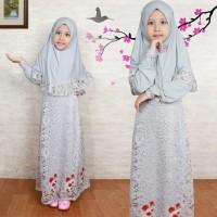 Baju Gamis Muslim Anak/Gamis Maxi Kid/Gamis Hijab Hawwa Grey Terbaru