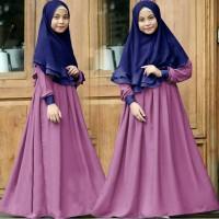 Baju Muslim Anak/Gamis Syar'i Kid Terbaru/Gamis Hijab Amanda Ungu