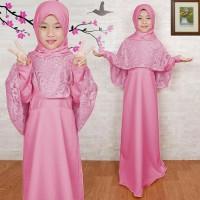 Baju Gamis Muslim Anak/Gamis Maxi Kid Terbaru/Gamis Brukat Tiara Pink