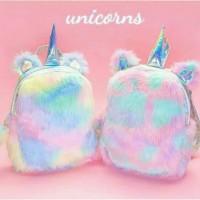 Tas unicorn bulu /unicorn backpack