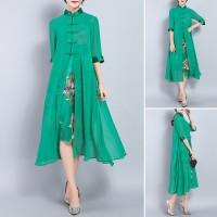 CC * Dress Midi Model Cheongsam Motif Bordir Bahan Sifon untuk Wanita