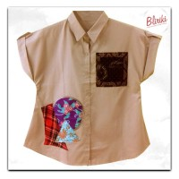 BW37 Kemeja Katun Kombinasi Batik Cap Patchwork Lengan Pendek Wanita
