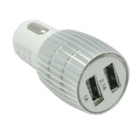 Aluminium Dual USB Car Charger 2A Silv Limited