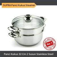 SUPRA Panci Kukus Steamer 32Cm 2 Susun Stainless Steel Kukusan