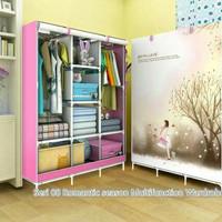Lemari plastik lemari portabel bisa di bongkar pasang warna pink