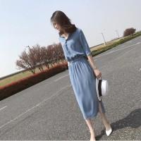 Dress Maxi Gaya Korea Bahan Sifon untuk Wanita