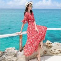 Long Dress Maxi Slim Bahan Sifon untuk Musim Panas