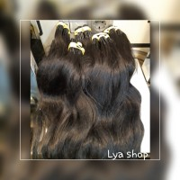 Hair extension 100% rambut asli super premium,100 helai 70 cm - Hitam