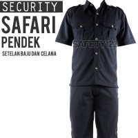 SS2 Safari Pendek Setelan Set Baju Celana Security Satpam Hitam Murah