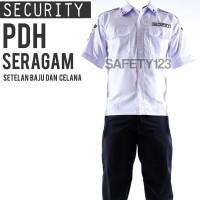PDH Seragam Setelan Baju Celana Security Satpam Komplit Emblem Jakarta