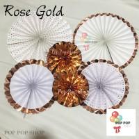 Paper Fan ROSE GOLD Dekorasi / Paper Flower Kipas Bunga Set