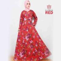 Gamis Maxi Flower Red Baju Muslim Wanita Gamis Model Kekinian Terbaru