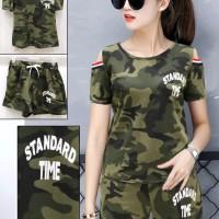 Setelan Wanita   666-7#   Setelan Army   Trend Fashion