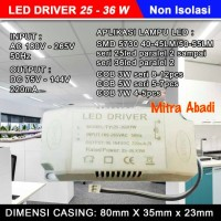 LED Driver 25-36x1 Watt 220 mA AC-DC Casing Plastik NON ISOLASI