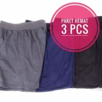 Paket Hemat 3 pcs - Celana Pendek Polos Bahan Kaos / Celana Kolor Adem