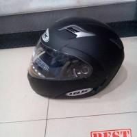 Helm INK Adventure Black Doff Solid Full Face Modular Hitam Dop