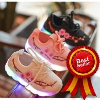 Sepatu Anak Perempuan Sepatu LED Anak Cewek Motif Bunga Import