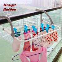 Hanger Balkon Jemuran Gantungan Baju Sepatu Kaos Kaki Laundry Portable