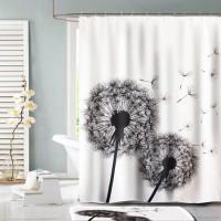 Polyester Tirai Kamar Mandi New Flower Garden Shower Curtain