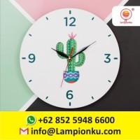 Harga Jam Dinding Dekorasi Ruang Cantik Elegan Motif Kaktus MURAH