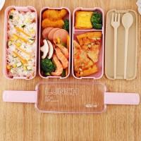900 ml Sehat Bahan Kotak 3 Lapisan Jerami Gandum Kotak Bento Makan Sia